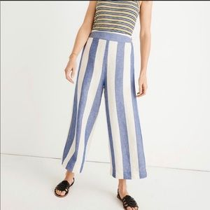 Madewell Huston linen striped cropped pants XS